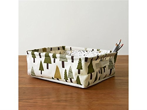 Gelaiken Lightweight Small Tree Storage Box Cotton and Linen Box Jewelry Stationery Cosmetic Case Sundries Storage Box(White) by Gelaiken