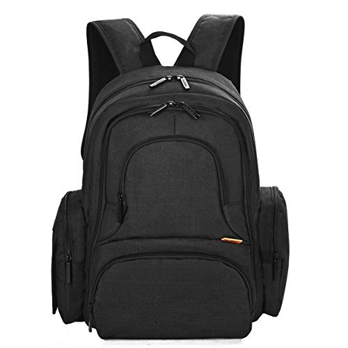 CoolBell-Baby-Diaper-Backpack-With-Insulated-Pockets-Large-Size-Water-resistant-Baby-Bag-Multi-functional-Travel-Knapsack-Include-Changing-Pad-Black-by-CoolbellTM