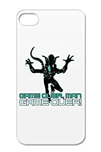 Game Over Man Geek Movie Nerd Alien Aliens 80s Acid Acid Xeno Movie TPU Game Navy For Iphone 4/4s Cover Case