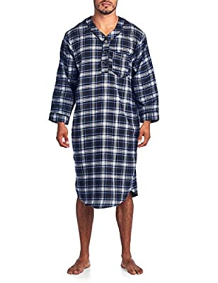 Ashford & Brooks Mens Flannel Plaid Long Sleep Shirt Henley Nightshirt