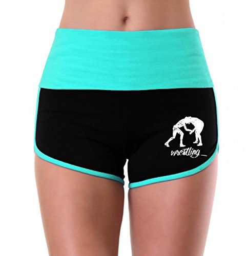 Women's MMA Wrestling Emblem Mint/Black Athletic Workout Yoga Shorts Large by Interstate Apparel