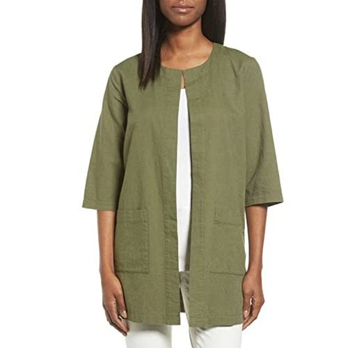 Cheap Eileen Fisher Olive Cross-Dyed Organic Cotton Round Neck Long Jacket Size S/P t7d59Lp5