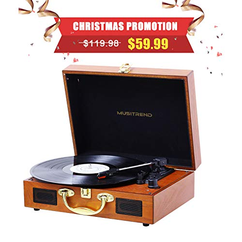 - Musitrend Turntable Portable Suitcase Record Player with Built-in Speakers, PC Recorder, Headphone Jack, RCA line Out - Wood
