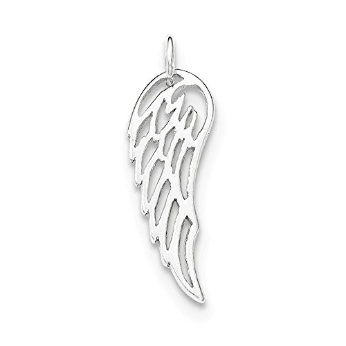 Polished Angel Charm - Sterling Silver Polished Angel Wing Charm
