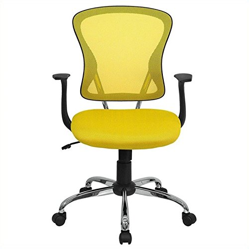 Flash Furniture Mid-Back Yellow Mesh Swivel Task Chair with Chrome Base and (Dorm Desk Chairs)