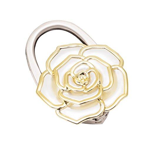 VIVOHOME Metal Foldable White Rose Flower Handbag Purse Hook Hanger (Hook Purse Flower)