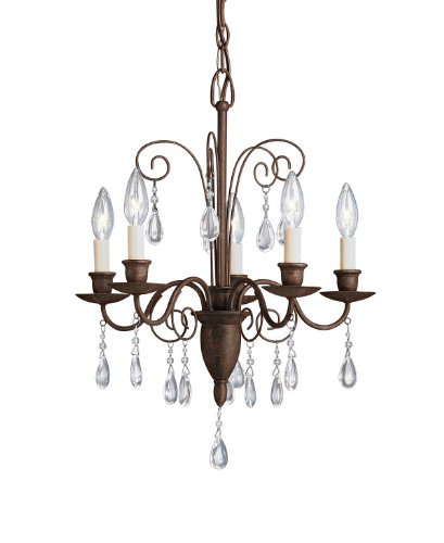 Kichler Lighting 1631TZ Barcelona 5-Light Chandelette, Tannery Bronze with Clear Glass Teardrops - Traditional Chandelette