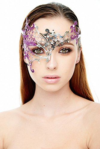 [Vanessa Silver/Purple Masquerade Mask (Clear Rhinestones; Unisex; One Size Fits Most)] (Womens Masquerade Costume Countess)