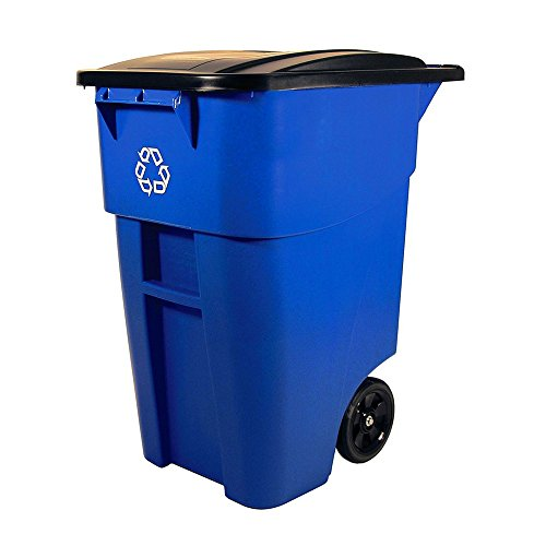 Recycling Bin for Outside Mobile Trash Can with Wheels and Lid 50 Gal Caster Cart Office Business Heavy Duty Tall Garbage Container Ergonomic Handle Square Large Rolling Blue & eBook BADA shop