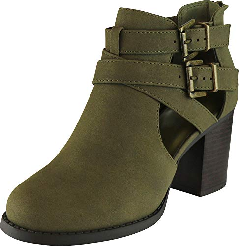 Cambridge Select Women's Side Cut Out Buckle Chunky Stacked Heel Ankle Bootie (10 B(M) US, Khaki Distressed PU) for $<!--$30.51-->