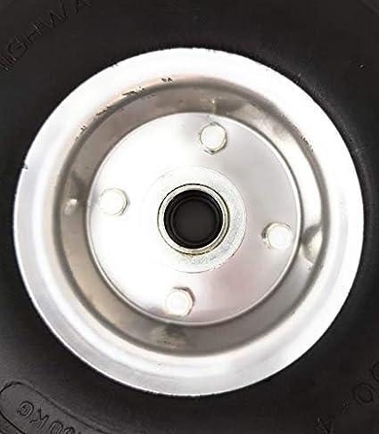 Rueda de carretilla de poliuretano (3.00-4/85 x 260 mm), eje de 20 mm y anchura de llanta de 85 mm, con ancho de eje de 85 mm, de goma sólida (130 kg): ...