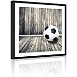 Live Art Decor - Sports Canvas Wall Art Vintage Soccer in Old Wooden Room Picture Print for Boys Room Baby Nursery Wall Decor Soccer Boys Gift,Black Frame Ready to Hang
