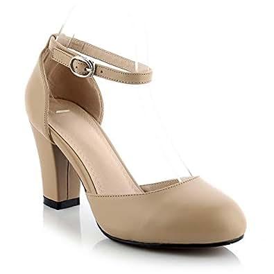 BalaMasa Womens Solid Nubuck Fashion Apricot Urethane Pumps Shoes APL11108-4 B(M) US