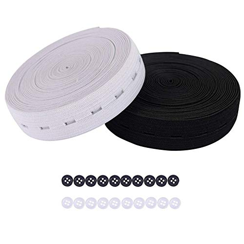 CREATPRET 3/4 Inch 11 Yards Buttonhole Knit Stretch Elastic Bands and 20pcs Resin Buttons (Black and White Each Color 5.5 Yards and Each Color 10pcs)