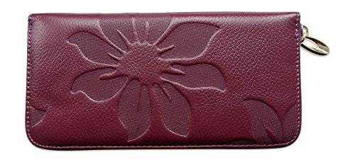 Embossed Clutch Wallet (Genuine Leather Zip Clutch Wallet, Zip Coin Purse for Women with 8 Card)