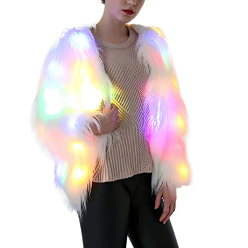 Tron Costumes For Sale (Womens Faux Fur Coat Winter Warm Fluffy LED Luminous Jacket Stage Costumes XL)