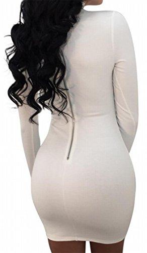 Front Dress Long Hollow Alion Women's Party Bodycon Sleeve Nightclub White Sexy Turtleneck X7SwvEqYw