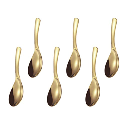 GuDoQi 6 Pack Soup Spoon 304 Stainless Steel Table Spoon 6 Inch Polished Titanium Plated Dinner Spoon Deepen Thicken Large Capacity for Soup Rice Desert (Gold)