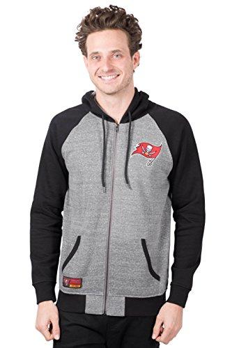 Icer Brands NFL Tampa Bay Buccaneers Men's Full Zip Fleece Hoodie Sweatshirt Raglan Jacket, Large, Gray