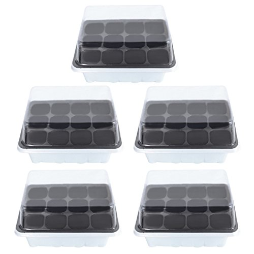 Seed Sprouter Tray, Petforu 5 Set 12-Cell Plant Germination Trays with Lid (White) by Petforu