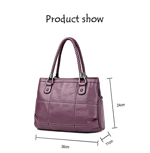 Casual Leather Ladies Plaid Large Red Line Pu Wine Handbag 7OXvnqvA