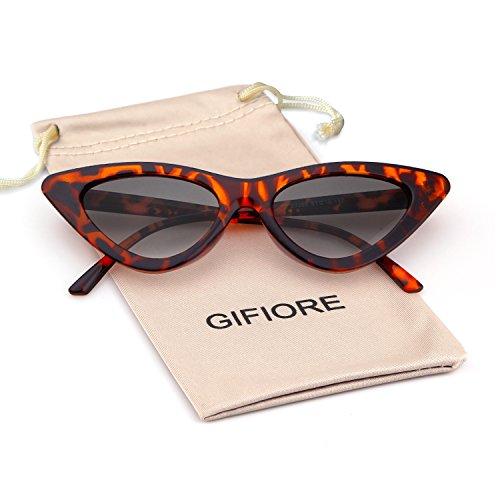 Leopard Vintage Sunglasses - Clout Goggles Cat Eye Sunglasses Vintage Mod Style Retro Kurt Cobain Sunglasses (Leopard Frame Smoke Lense, 51)