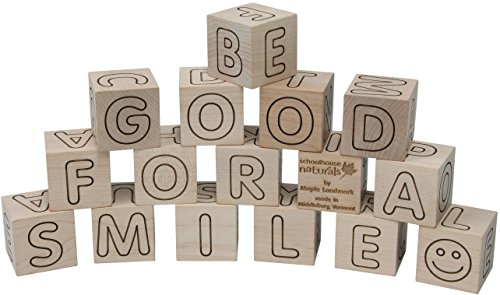 Simple Wooden ABC Blocks - Made in USA (Factory Blocks Alphabet)