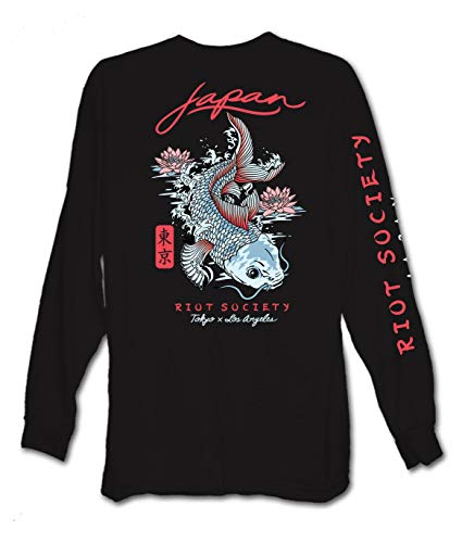Riot Society Japan Koi Lotus Mens Long Sleeve T-Shirt - Black, Large
