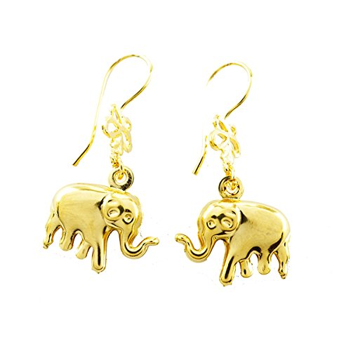 1 pairs earrings hook elephant with gold plated 24K (24k Elephant Earrings)