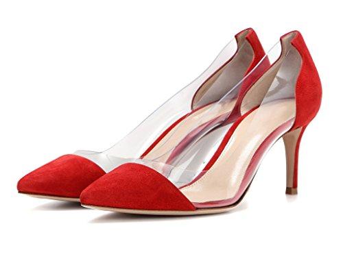 Elashe Scarpe Da Donna - Decollete Con Tacco Alto - Scarpe A Punta Tacco A Spillo 8cm - Puntale Trasparente Slip-scarpe Da Sposa Rosso