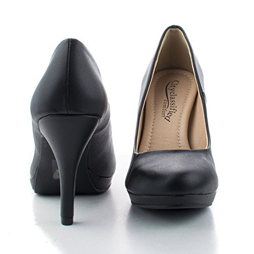 Comfort Round Dress Extra Work Classic Black Cushioned Pumps Pu Toe qrttwXP