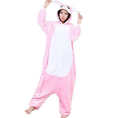 [XMiniLife Rabbit Unisex Adult Halloween Kigurumi Onesie,5 Colors (S, Pink Rabbit)] (Spyro The Dragon Halloween Costume)
