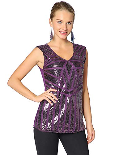 (Metme Women Vintage V Neck Slight Loose Flashy Sequin Sparkly Vest Tops Tank Tops Purple)