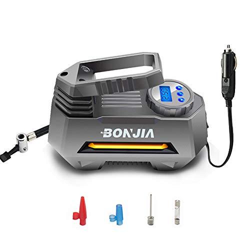BONJIA Portable Tire Inflator Air Compressor Pump for DC 12V with Extra Nozzle LED Light for Compact/Medium Car SUV