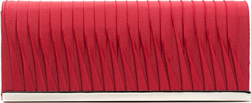 VINCENT PEREZ, Embrague, Bolsas de noche, Bolsas bandolera, satén con forro de tela y ribetes metálicos, con cadena desmontable (120 cm), 23x9,5x4,5 cm (AN x AL x pr), color: gris oscuro Rojo (Koralle)