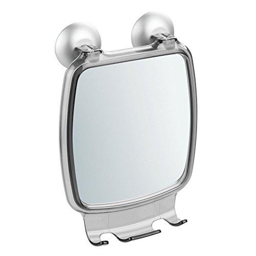 InterDesign Metro Ultra Power Lock Bathroom Shower Suction Mirror with Razor Holder - Smoke/Silver