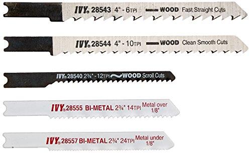 IVY Classic 28568 Assorted U-Shank Jig Saw Blade Set, Cuts Metal and Wood, Bi-Metal and HSS, 5/Card Hss Jigsaw Blade Set