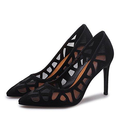OL Pendler Schuhe Leder Tipps Flachen Heels Court High Frauen Frühling Schuhe Schuhe Mund Mesh Beruf Sommer Damen Schuhe OqT6w