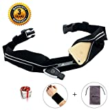 ABETER Best Running Belt Pocket Belt Waist Pack Pouch Sweatproof Rainproof Slim with 2 Expandable Pockets and No Bounce Zipper for Phone, Cards, Money, Sports,Travel, Jogging, Spy, Cycling, Hiking ...