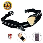 ABETER Best Running Belt Pocket Belt Waist Pack Pouch Sweatproof Rainproof Slim with 2 Expandable Pockets and No Bounce Zipper for Phone, Cards, Money, Sports,Travel, Jogging, Spy, Cycling, Hiking …