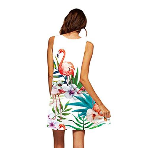 Tunique 20 YICHUN Jupon Robe Flamants Robe de Robe A Soire de Fille Courte Plage Jupe Femme Line Manche de Crayon Mini sans xYrtTnYwq1