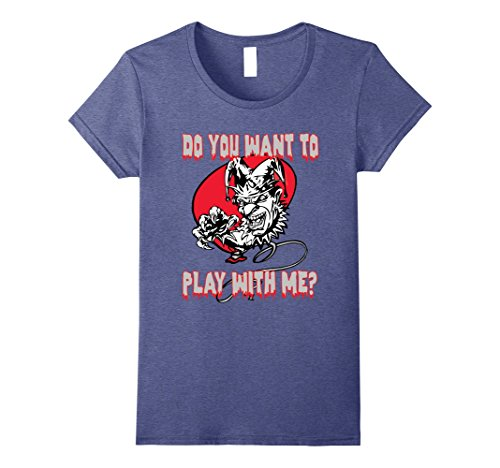 Female Psycho Clown Costume (Womens Scary Clown Do You Want To Play With Me T-shirt Tee Small Heather Blue)