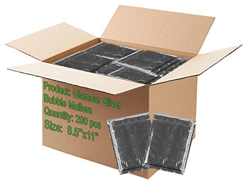 200 Pack Bubble mailers 8.5 x 11. Padded envelopes 8 1/2 x 11. Silver Cushion envelopes. Exterior Size 9.5 x 12 (9 1/2 x 12). Peel & Seal. Glamour Metallic foil.Mailing & Shipping & Packing]()