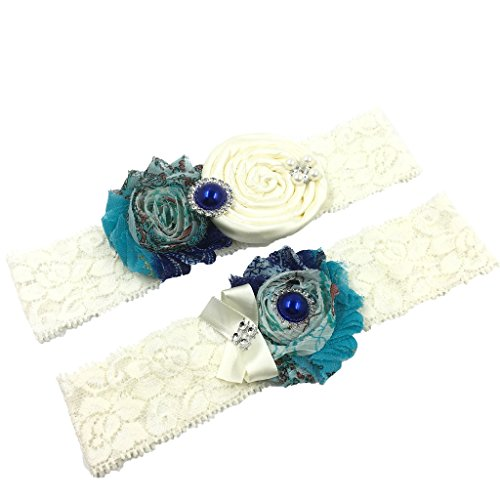 Wedding Lace Garter Set With Peacock Inspired Navy Blue Pearl(Gift Box) (Something Blue Garter Set)