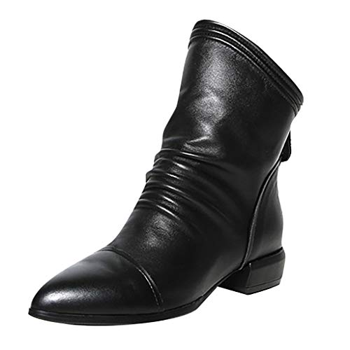 (JJHAEVDY Womens Black Low Heel Leather Ankle Bootie Ladie Fashion Simple Modern Party Casual Boots Back Zipper)