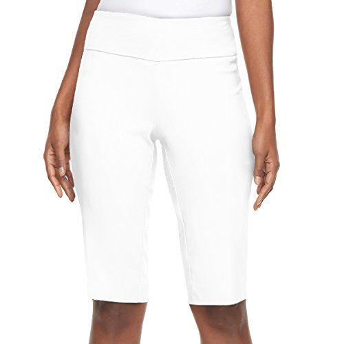 HyBrid & Company Super Comfy Stretch Pull On Millennium Twill Bermuda KB44972X White 2X (Blended Twill Pants)