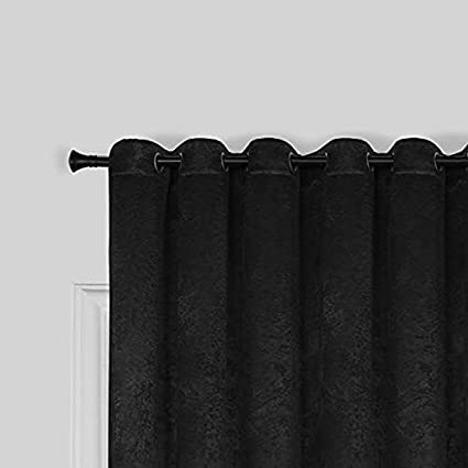 SUO AI TEXTILE Suede Treatment Room Darkening Thermal Insulated Grommet Window Curtains 2 Panels 52x63,Black