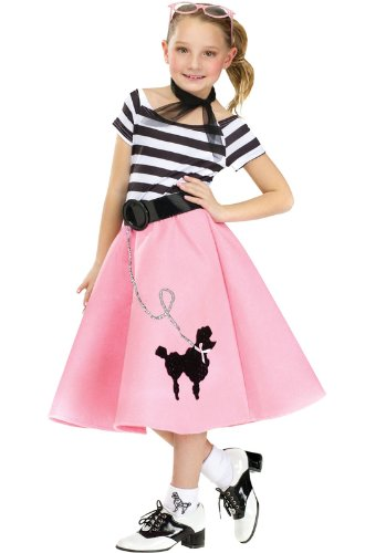 50s Costume For Girls (Fun World Little Girl's Med/soda Shop Sweetie Chld Childrens Costume, Multi,)