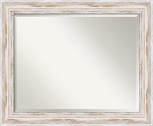 Amanti Art Framed Mirrors for Wall | Alexandria White Wash Mirror for - Bathroom Mirrors Weathered Wood