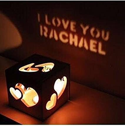 Awwsme Led Candle Wooden Shadow Box With Name Craved On It